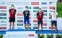 ( L to R) MENCARINI Luca, RESTIVO Matteo gold, TOMAC Mewen FRA, CICCARESE Christopher bronze<br /> 200 Backstroke Men<br /> Roma 13/08/2020 Foro Italico <br /> FIN 57 LVII Trofeo Sette Colli - Campionati Assoluti 2020 Internazionali d'Italia<br /> Photo Giorgio Scala/DBM/Insidefoto