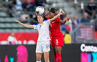 CARSON, CA - FEBRUARY 07: Maria Paula Salas #17 of Costa Rica and Kadeisha Buchanan #3 of Canada go to battle during a game between Canada and Costa Rica at Dignity Health Sports Complex on February 07, 2020 in Carson, California.
