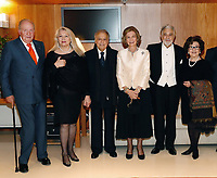 02-11-2018 Spain Spanish Emeritus Royal Couple Juan Carlos (L) and Sofia (3-R), Indian conductor Zubin Mehta (3-L) his wife Nnacy Kovack (2-L), Spanish tenor Placido Domingo (2-R) and his wife Marta Domingo (R) pose during a concert offered by the orchestra of Reina Sofia Music academy on the occasion of the 80th anniversary of Queen Sofia in Madrid, Spain<br /> <br /> .<br /> .