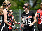 GER - Hannover, Germany, May 30: During the Women Lacrosse Playoffs 2015 match between DHC Hannover (black) and SC Frankfurt 1880 (red) on May 30, 2015 at Deutscher Hockey-Club Hannover e.V. in Hannover, Germany. Final score 23:3. (Photo by Dirk Markgraf / www.265-images.com) *** Local caption *** Jule Neubauer #15 of DHC Hannover