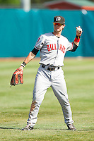 Billings Mustangs left fielder Jesse Winker (23) warms up between innings of the Pioneer League game against the Grand Junction Rockies at Suplizio Field on July 25, 2012 in Grand Junction, Colorado.  The Mustangs defeated the Rockies 12-11 in 10 innings.  (Brian Westerholt/Four Seam Images)