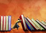 Illustrative image of male student holding books