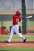 AZL Reds Caleb Van Blake (39) hits a home run during an Arizona League game against the AZL Athletics Green on July 21, 2019 at the Cincinnati Reds Spring Training Complex in Goodyear, Arizona. The AZL Reds defeated the AZL Athletics Green 8-6. (Zachary Lucy/Four Seam Images)