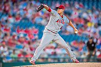 15 August 2017: Los Angeles Angels pitcher Tyler Skaggs on the mound against the Washington Nationals at Nationals Park in Washington, DC. The Nationals defeated the Angels 3-1 in the first game of their 2-game series. Mandatory Credit: Ed Wolfstein Photo *** RAW (NEF) Image File Available ***