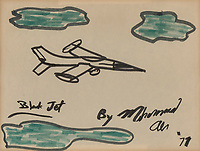 """BNPS.co.uk (01202) 558833. <br /> Pic: Bonhams/BNPS<br /> <br /> Pictured: Ali's artwork titled """"Black Jet""""sold for £7000<br /> <br /> Packs a punch..<br /> <br /> Incredibly rare art work by Muhammad Ali has sold for almost £700,000 ($945,000) following a bidding war.<br /> <br /> The legendary heavyweight boxer was a passionate artist and produced a series of works documenting key milestones in his life.<br /> <br /> They proved a knock-out success with collectors, with some examples going for up to 10 times their pre-sale estimate."""