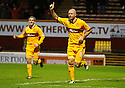 MOTHERWELL'S MICHAEL HIGDON CELEBRATES AFTER HE SCORES MOTHERWELL'S GOAL ..17/12/2011 sct_jsp006_motherwell_v_st_mirren     .Copyright  Pic : James Stewart.James Stewart Photography 19 Carronlea Drive, Falkirk. FK2 8DN      Vat Reg No. 607 6932 25.Telephone      : +44 (0)1324 570291 .Mobile              : +44 (0)7721 416997.E-mail  :  jim@jspa.co.uk.If you require further information then contact Jim Stewart on any of the numbers above.........