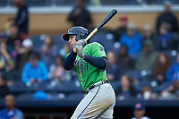 Austin Riley (27) of the Gwinnett Braves follows through on his swing against the Durham Bulls at Durham Bulls Athletic Park on April 20, 2019 in Durham, North Carolina. The Bulls defeated the Braves 11-3 in game one of a double-header. (Brian Westerholt/Four Seam Images)