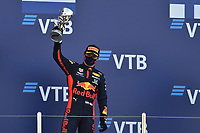 27th September 2020, Sochi, Russia; FIA Formula One Grand Prix of Russia, Race Day;  33 Max Verstappen NLD, Aston Martin Red Bull Racing  celebrates his 2nd place on the podium