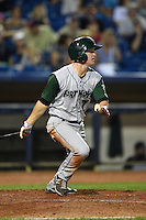 Fort Wayne TinCaps second baseman Josh VanMeter (7) at bat during a game against the Lake County Captains on August 21, 2014 at Classic Park in Eastlake, Ohio.  Lake County defeated Fort Wayne 7-8.  (Mike Janes/Four Seam Images)