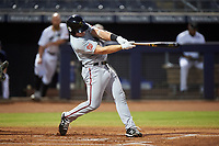 Surprise Saguaros Jakson Reetz (4), of the Washington Nationals organization, at bat during an Arizona Fall League game against the Peoria Javelinas on September 22, 2019 at Peoria Sports Complex in Peoria, Arizona. Surprise defeated Peoria 2-1. (Zachary Lucy/Four Seam Images)