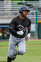 Quad Cities River Bandits outfielder Corey Julks (15) runs to first base during a Midwest League game against the Beloit Snappers on May 20, 2018 at Pohlman Field in Beloit, Wisconsin. Beloit defeated Quad Cities 3-2. (Brad Krause/Four Seam Images)
