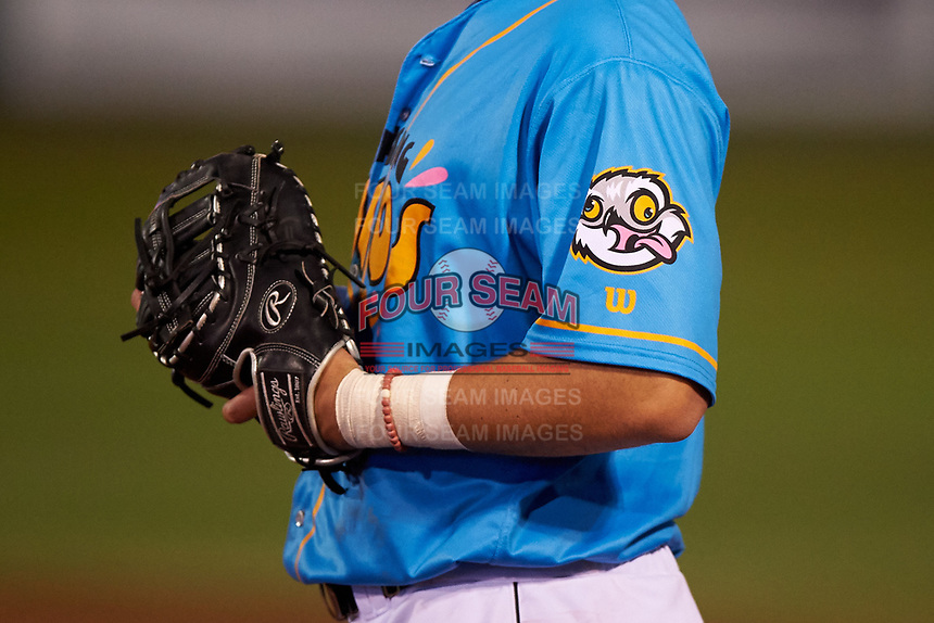 A closeup of the Lansing Locos logo on first baseman Jake Brodt's (30) sleeve during a Midwest League game against the Beloit Snappers at Cooley Law School Stadium on May 4, 2019 in Lansing, Michigan. The Lugnuts wore their Copa de la Diversión jerseys, becoming the Lansing Locos for the evening. Beloit defeated Lansing 2-1. (Zachary Lucy/Four Seam Images)