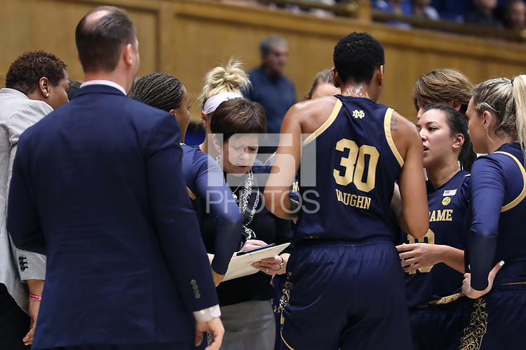 DURHAM, NC - JANUARY 16: Head coach Muffet McGraw of Notre Dame University draws up a play during a timeout during a game between Notre Dame and Duke at Cameron Indoor Stadium on January 16, 2020 in Durham, North Carolina.