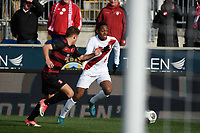 Chester, PA - Sunday December 10, 2017: Mason Toye, Logan Panchot during the NCAA 2017 Men's College Cup championship match between the Stanford Cardinal and the Indiana Hoosiers at Talen Energy Stadium.