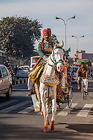 Jaipur, Rajasthan, India.  Horseman en Route to a Groom's House for a Wedding.