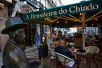 LISBON, PORTUGAL - June 8: Fewer people are seen in a cafe downtown in Lisbon, on June 8, 2021. <br /> Tourists anticipated trips from Lisbon to the U.K. They decided to return early so they wouldn't have to quarantine. since the new rules were announced for those traveling from Portugal to the UK. <br /> (Photo by Luis Boza/VIEWpress)