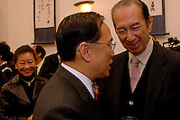 Dr The Honourable Donald Tsang Yam Kuen, Chancellor of The University of Hong Kong (HKU), and  Dr. Stanley Ho at the 173rd Congregation on March 14, 2006.