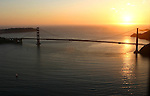 October 29, 2005; San Francisco, CA, USA; Aerial view of the Pacific ocean and the Golden Gate Bridge at sunset in San Francisco, CA. Photo by: Phillip Carter