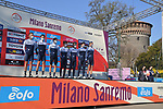 Israel Start-Up Nation at sign on before the start of the 112th edition of Milan-San Remo 2021, running 299km from Milan to San Remo, Italy. 20th March 2021. <br /> Photo: LaPresse/Gian Mattia D'Alberto | Cyclefile<br /> <br /> All photos usage must carry mandatory copyright credit (© Cyclefile | LaPresse/Gian Mattia D'Alberto)