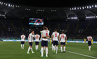 3rd July 2021, Stadio Olimpico, Rome, Italy;  Euro 2020 Football Championships, England versus Ukraine quarter final;   Players of England celebrate after the match