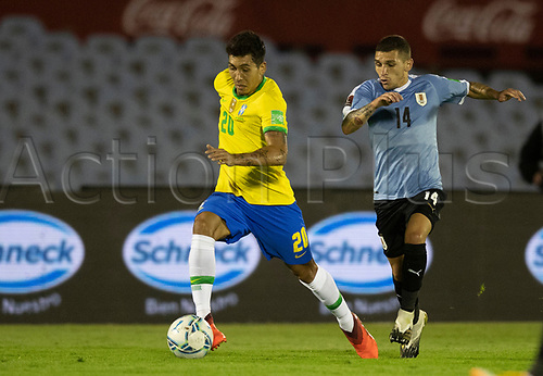 17th November 2020; Centenario Stadium, Montevideo, Uruguay; Fifa World Cup 2022 Qualifying football; Uruguay versus Brazil; Lucas Torreira of Uruguay gives chase to the break by Roberto Firmino of Brazil
