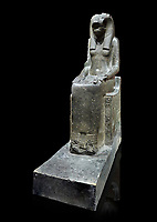 "Ancient Egyptian statue of goddess Sekhmet, grandodiorite, New Kingdom, 18th & 20thDynasty (1390-1150 BC), Thebes. Egyptian Museum, Turin. black background.<br /> <br /> In this statue of Sekhmet the goddess is called ""mistress of Shenut"" possibly linking her to the lioness goddess Repyt of Anthribis.  Sekhmet, ""the Powerful One"" was a fearsome goddess symbolised by her lioness head. Daughter of the sun she personifies the disk of the world during the day. Sekhmet is the angry manifestation of Hathor inflicting the scourges of summer heat, famine and illness which is why the goddess needed to be exorcised every day. Drovetti Collection. C 248"