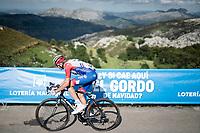 Kilian Frankiny (SUI/Groupama - FDJ) at the finish after climbing the extremely brutal Alto de los Machucos <br /> <br /> Stage 13: Bilbao to Los Machucos / Monumento Vaca Pasiega (166km)<br /> La Vuelta 2019<br /> <br /> ©kramon