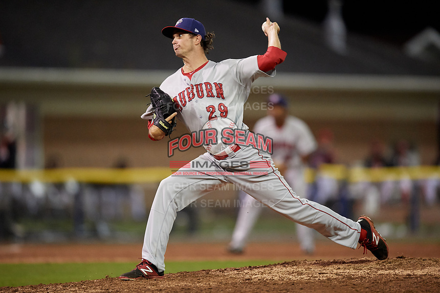 Auburn Doubledays relief pitcher Jared Johnson (29) delivers a pitch during a game against the Batavia Muckdogs on September 6, 2017 at Dwyer Stadium in Batavia, New York.  Auburn defeated Batavia 6-3.  (Mike Janes/Four Seam Images)