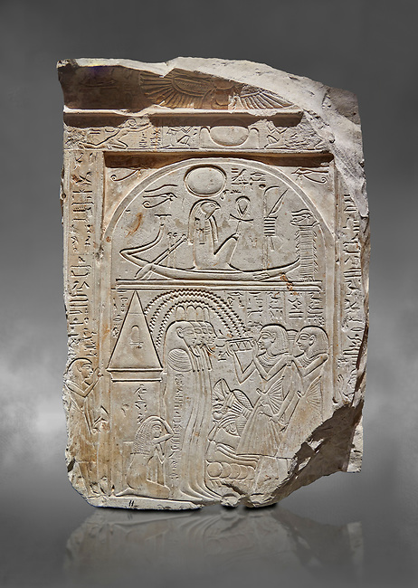 """Ancient Egyptian stele of sculptor Qen, limestone, New Kingdom, 19th Dynasty, (1279-1213 BC), Deir el-Medina, Old Fund cat 1635. Egyptian Museum, Turin. Grey background<br /> <br /> This stele belongs to the """"painter of outlines' and sculptor Qen who lived in the reign of Ramesses II. It depicrs a funeral celebration for him infront of funerary chapel with his sond Meryre and Huy, who are performing the """"ceremony of Opening of the Mouth"""". His daughter Taqri is depicted grieving over the loss of her father. The chapel is summounted by a Pyramidion."""