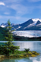 Mendenhall Glacier terminus and Mendenhall lake near Juneau, Alaska. The glacier formed about 3,000 years ago.
