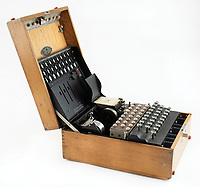 BNPS.co.uk (01202) 558833<br /> Pic: RRAuction/BNPS<br /> <br /> A rare, fully-functioning Enigma machine used by the Germans during World War Two has sold for £213,000. ($300,000)<br /> <br /> This Enigma I model was made in Berlin in 1935 for the military to transmit confidential information while German forces were expanded, in contravention of the Treaty of Versailles.<br /> <br /> It has three rotors, each with 26 positions, to create 17,576 possible combinations for each letter.<br /> <br /> The Enigma was considered to be 'unbreakable', but the British codebreakers at Bletchley Park led by Alan Turing were famously able to decipher it.