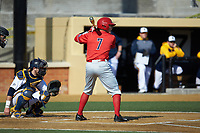 Danny Hrbek (7) of the Radford Highlanders at bat against the Quinnipiac Bobcats at David F. Couch Ballpark on March 4, 2017 in Winston-Salem, North Carolina. The Highlanders defeated the Bobcats 4-0. (Brian Westerholt/Four Seam Images)
