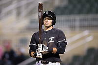 Brandon Dulin (31) of the Kannapolis Intimidators checks his bat before stepping up to the plate against the Lakewood BlueClaws at Kannapolis Intimidators Stadium on April 6, 2017 in Kannapolis, North Carolina.  The BlueClaws defeated the Intimidators 7-5.  (Brian Westerholt/Four Seam Images)