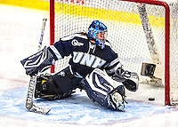 2 February 2013: University of New Hampshire Wildcat goaltender Marie-Eve Jean, a Freshman from Gatineau, Quebec, gives up a 3rd period goal, tying the game 2-2, against the University of Vermont Catamounts at Gutterson Fieldhouse in Burlington, Vermont. The Lady Wildcats defeated the Lady Catamounts 4-2 in Hockey East play. Mandatory Credit: Ed Wolfstein Photo