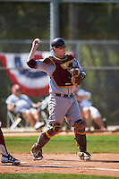 Central Michigan Chippewas catcher Robert Greenman (23) during a game against the Boston College Eagles on March 3, 2017 at North Charlotte Regional Park in Port Charlotte, Florida.  Boston College defeated Central Michigan 5-4.  (Mike Janes/Four Seam Images)