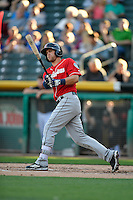 Tyler Smith (7) of the Tacoma Rainiers at bat against the Salt Lake Bees in Pacific Coast League action at Smith's Ballpark on July 22, 2016 in Salt Lake City, Utah. The Rainiers defeated the Bees 8-3. (Stephen Smith/Four Seam Images)