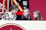 (L-R) Queen Letizia of Spain, Princess Leonor of Spain and Princess Sofia of Spain attend the National Day military parade. October 12 ,2016. (ALTERPHOTOS/Acero)