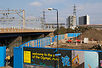 London 2012 Olympic Park. Feb 2008 from Pudding Mill Lane station  looking east.