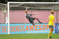 Philadelphia Independence goalkeeper Karina LeBlanc (23) is unable to make the save. Sky Blue FC defeated the Philadelphia Independence 1-0 during a Women's Professional Soccer (WPS) match at Yurcak Field in Piscataway, NJ, on August 22, 2010.