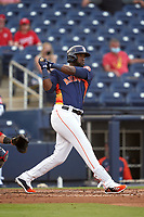 Houston Astros Yordan Alvarez (44) bats during a Major League Spring Training game against the Washington Nationals on March 19, 2021 at The Ballpark of the Palm Beaches in Palm Beach, Florida.  (Mike Janes/Four Seam Images)