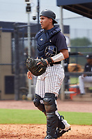 FCL Yankees catcher Juan Crisp (30) during a game against the FCL Phillies on July 6, 2021 at the Yankees Minor League Complex in Tampa, Florida.  (Mike Janes/Four Seam Images)