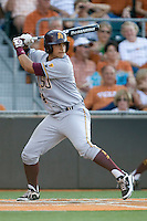 Arizona State Sun Devil catcher Xorge Carrillo #14 at bat against the Texas Longhorns in NCAA Tournament Super Regional Game #3 on June 12, 2011 at Disch Falk Field in Austin, Texas. (Photo by Andrew Woolley / Four Seam Images)