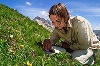 Sortie botanique autour du col du Lautaret vers la crête de Chaillol :<br /> Richard Hurstel, responsable horticole du jardin alpin & Murielle Bollet technicienne au jardin & titulaire d'une maitrise de botanique ocupe la plupart de leur temps libre à prospecter la flore de la région. La neige est présente 8 à 9 mois sur 12 ; le cycle végétatif est court ainsi que la période de prospection.<br /> Ici Murielle avec une gentiane acaule (Gentiana acaulis).
