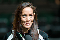 Melbourne, 14 August 2015 - Natalie Taylor of the New Zealand Tall Ferns women's basketball team speaks to the media at a press conference on the eve of the game one of the 2015 FIBA Oceania Championships at Rod Laver Arena in Melbourne, Australia. (Photo Sydney Low / sydlow.com)