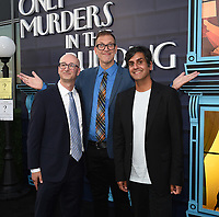 """NEW YORK CITY - AUG 24: (L-R) Executive Producers Jess Rosenthal, John Hoffman, and Composer Siddhartha Khosla attends the screening of Hulu's """"Only Murders in the Building"""" at The Greens at Pier 17 on August 24, 2021 in New York City. (Photo by Frank Micelotta/Hulu/PictureGroup)"""
