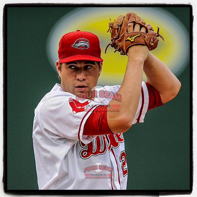 #OTD On This Day, May 10, 2013, starting pitcher Brian Johnson (28) of the Greenville Drive pitched five innings to pick up his first win of the season in a game against the Augusta GreenJackets on Friday, May 10, 2013, at Fluor Field at the West End in Greenville, South Carolina. He has pitched parts of four seasons with Boston. (Tom Priddy/Four Seam Images) #MiLB #OnThisDay #MissingBaseball #nobaseball #stayathome #minorleagues #minorleaguebaseball #Baseball #SallyLeague #AloneTogether