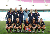 US Women's National Team Starting Lineup Photo at the 2010 Algarve Cup Final in Faro, Portugal. The US beat Germany 3-2
