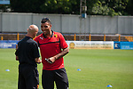 St Albans 0 Watford 5, 26/07/2014. Clarence Park, Pre Season Friendly. Troy Deeney with manager Giuseppe Sannino before the Pre Season friendly between St Albans City and Watford from Clarence Park Stadium. Watford won the game 5-0. Photo by Simon Gill.