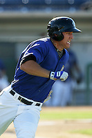 Mike Trout of the Rancho Cucamonga Quakes during game against the Stockton Ports at The Epicenter in Rancho Cucamonga,California on August 15, 2010. Photo by Larry Goren/Four Seam Images