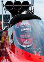 Sep 1, 2019; Clermont, IN, USA; NHRA top fuel driver Doug Kalitta during qualifying for the US Nationals at Lucas Oil Raceway. Mandatory Credit: Mark J. Rebilas-USA TODAY Sports